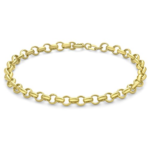 Carissima Gold Women's 9 ct Yellow Gold Hollow 4.6 mm Round Belcher Chain Bracelet of Length 18 cm/7 Inch