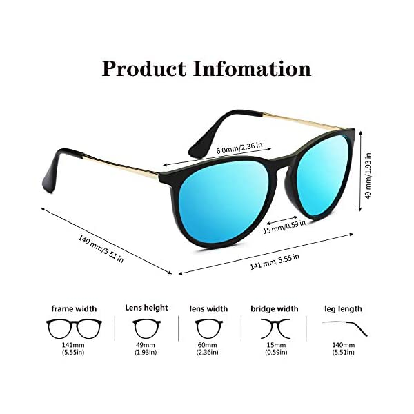 WZERRY Round Polarized Sunglasses for Women, Vintage Retro Style Sun Glasses with UV400 Protection
