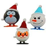 NOVELTY GIANT WWW.NOVELTYGIANT.COM 3 Pack Wind Up Jumping Christmas Set Santa Snowman & Penguin