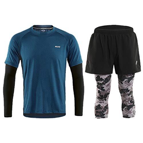 ARSUXEO - Conjunto de ropa deportiva para hombre (azul B) EU XL/asiática XXL