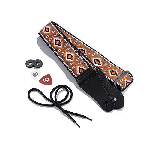 KLIQ Gewebter Retro-Gitarrengurt für Akustik- und E-Gitarren, 60er Jahre, Jacquardgewebe, Hootenanny-Stil, 2 Gummi-Gurtsicherungen im Lieferumfang enthalten (Diné-Adobe/Orange)