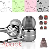 4 Pack Headphones Earphones with Microphone Android Laptop Earbuds mic Ear Buds Heavy BASS Non Tangle Pink Green White Black Computer Stereo chromebook Headset with Case and Size Tips