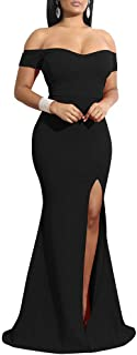 YMDUCH Women's Off Shoulder High Split Long Formal Party Dress Evening Gown
