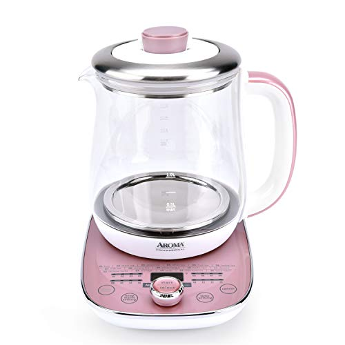 Aroma Professional AWK-701 16-in-1 Nutri-Water, Green, Fruit, Flower Tea, Coffee, Multi-Use Kettle, Delay Timer, 1.5L, Pink