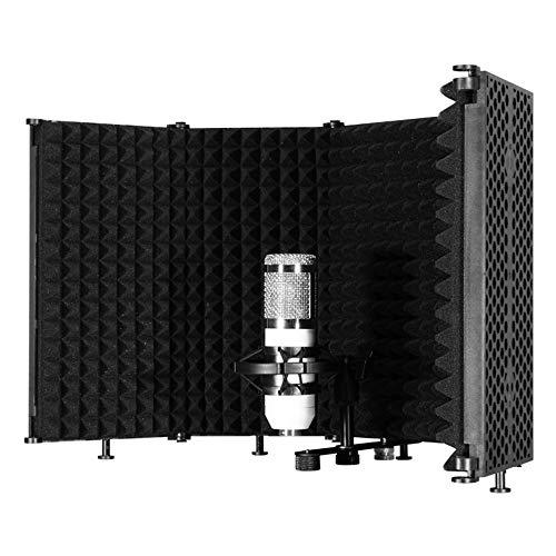 Kacsoo Escudo de aislamiento de micrófono, protector acústico portátil ajustable para micrófono cabina vocal, filtro de reflexión para estudio de voz en casa.