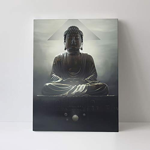 Framed Buddha Canvas Wall Art, Buddhist Stone Statue Prints Zen Landscape Sky Clouds Wall Decor Artwork for Living Room Bedroom Bathroom Kitchen Office Modern Home Decoration 12x16 inch