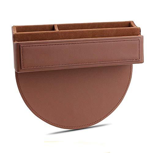 Organizador de piel para asientos de coche, bolsillo lateral, universal, reversible, para asiento de conductor y pasajero, color marrón