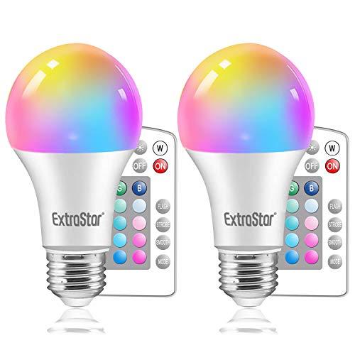 ExtraStar E27 Farbwechsel Lampe,Glühbirne Farbige Leuchtmittel,9W Dimmbar RGB LED Lampe mit Fernbedienung Farbwechsel,16 Farben, 2 Stück
