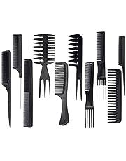Hårstylingkammar, SenPuSi 10 st professionella salongkammar hårdressing stylister stjälkar frisör tillbehör set frisörverktyg för hårstylister, svart