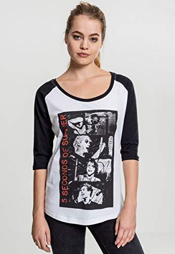 MERCHCODE Ladies 5 Seconds of Summer Stacked Raglan Tee T-Shirt Femme, Blanc/Noir, XS