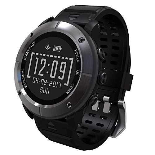 HXZB Reloj Inteligente, Pantalla de Tinta electrónica de 1,2 Pulgadas-posicionamiento GPS-detección de sueño de frecuencia cardíaca-Reloj Bluetooth Impermeable,Black