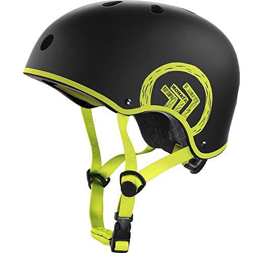 MONATA Skateboard Helmet with CPSC Certified for Skate Helmet Youth or Adults Multisport Roller Skating Skateboarding Cycling Scooter Longboarding Rollerblading (Green, Medium)