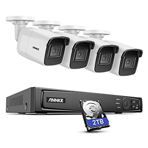 ANNKE H800 Bullet 8MP Ultra HD PoE Système Caméra de Surveillance 8CH 4K NVR H.265+ et 4 Caméras de Sécurité, EXIR 2.0 Vision Nocturne Jusqu'à 30M, IP67 Étanche, Alerte APP, Accès à Distance - 2To HDD