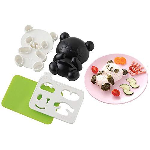 Moule panda mignon, moule à boule de riz Onigiri torréfié, coupe-sandwich, lot 4 en 1 pour la fabrication de sushis, accessoires Bento japonais pour bébé, enfants, pique-nique, repas Bento