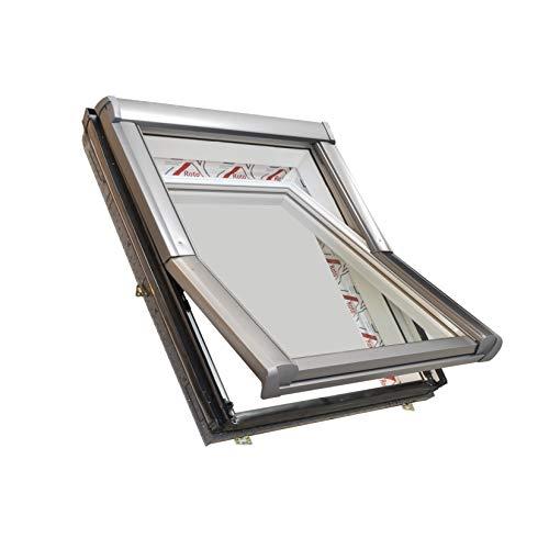 Dachdecker Favorit Roto Dachfenster aus Kunststoff mit Eindeckrahmen und Wärmedämmung(65 x 118)