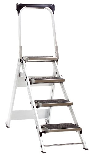 Jumbo Super Proff 41LG410B - Escalera plegable (aluminio, 4 peldaños, con asidero de seguridad)