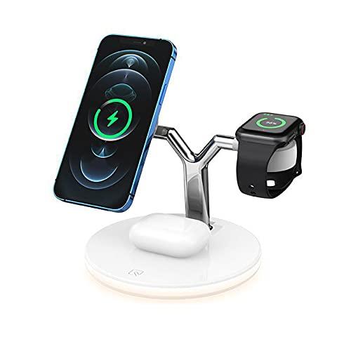 Cargador inalámbrico, 3 en 1 Base de carga inalámbrica compatible con iPhone 8 9 10 11 12 12 Pro 12 Pro Max compatible con Apple Watch 2 3 4 5 6 SE, AirPods 2 Pro y teléfonos