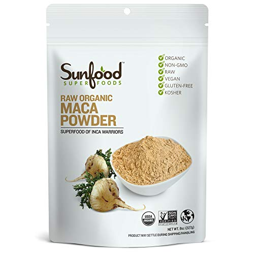 Sunfood Superfoods Maca Powder | Raw, Organic, Non-GMO, Vegan, Gluten Free, Kosher | Highest Quality | Pure Single Ingredient Product | Ultra-Clean (No Additives, Fillers or Preservatives) | 8 oz Bag