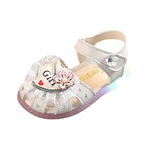 HDUFGJ Kinder Baby Sandalen mit Licht LED Leuchtende,Sommer Sport Sandalette Strandschuhe Atmungsaktiv Gummi Sommer Freizeitschuhe Outdoor Wandern Wasserschuhe 22.5(Weiß)