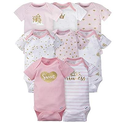 Gerber Baby Girls' 8 Pack Short-Sleeve Onesies Bodysuits, Castle, 0-3 Months