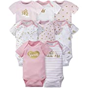 Gerber Baby Girls' 8 Pack Short-Sleeve Onesies Bodysuits, Castle, Newborn
