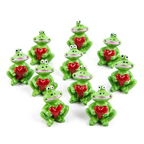 Logbuch-Verlag 10 Stück kleine Mini Frosch Glücksbringer 2,7 cm grün mit Herz rot Deko Figur Miniatur give-Away Gastgeschenk Goodie gimmick Kunden Gäste
