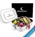 Bragston Edelstahl Brotdose auslaufsicher | inkl. flexiblem Trennsteg | nachhaltig und umweltfreundlich