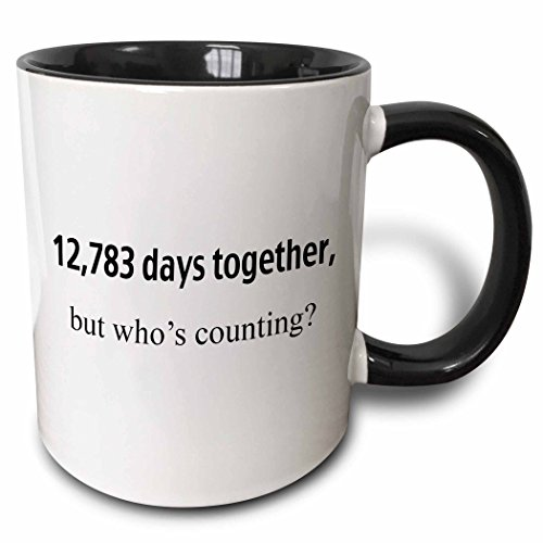 3dRose 12,783 Days Together But Who's Counting Two Tone Mug, 11 oz, Black/White