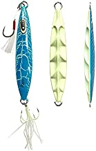 Otomin Fishing Jigs Crack Glow Lures Saltwater Slow Fall Jigging Metal Fish Lures Pitching High Reflection Spoons with Anchor Hooks 6 Colors 80g 100g 120g 150g 200g