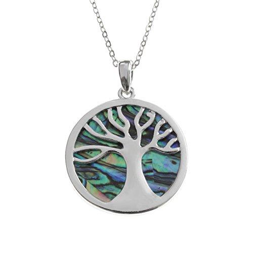 Kiara Schmuck keltischer Baum des Lebens Anhänger Halskette eingelegten beide Seiten mit bläulich grün Paua Abalone Shell auf 45,7 cm Trace Kette. Rhodiniert, Anlauf Geschützt.