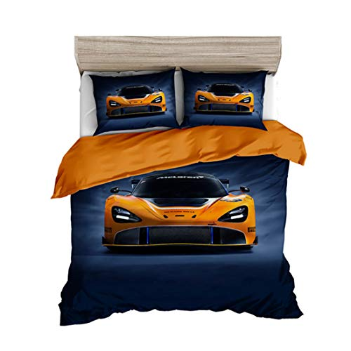 Impresión 3D De Vehículos De Motor. Cubierta del Edredón De Almohada para Adultos De Niños Ropa De Cama Tamaño De La Cama Doble Casa De Textiles,R,Single 2PCS 140x210cm