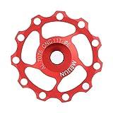 Yosoo Health Gear Rueda Jockey de Bicicleta, polea de Cambio Trasero de aleación de Aluminio, polea de Rueda guía de Bicicleta para Bicicleta de Carretera y Bicicleta de montaña(11T-Rojo)
