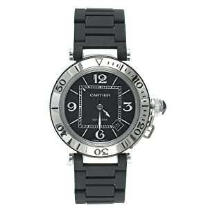 Cartier Men's W31077U2 Pasha Seatimer Automatic Stainless Steel and Rubber Watch image