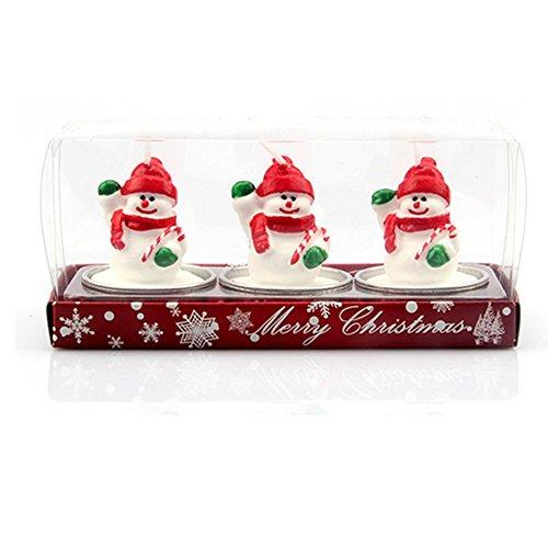 iTemer Weihnachtskerzen Weihnachtsmann Teelichter Set, schneemann, 16*4*5CM