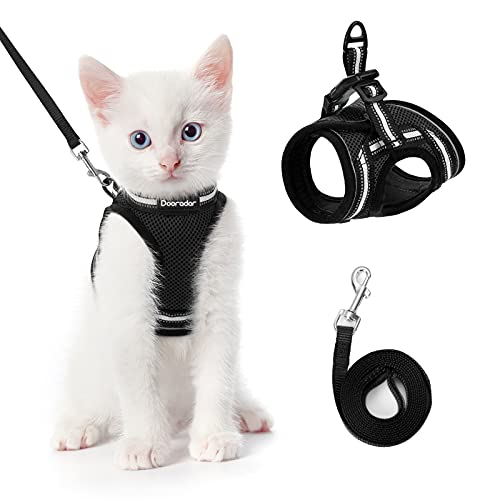Dooradar Cat Harness and Leash for Walking Escape Proof, Adjustable Safe Kitten Harness with Reflective Strip…