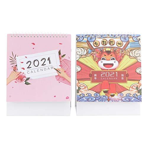 VOSAREA 2Pcs 2021 Calendario de Escritorio de Pie Flip Mensual Almohadilla de Escritorio Calendario Mes Planificador Diario Año Chino de Ox Zodiacs Calendario para Oficina en Casa