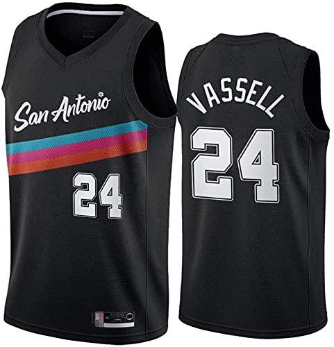 Ropa Uniformes de baloncesto para hombre, San Antonio Spurs # 24 Devin Vassell NBA transpirable Chalecos de secado rápido Tops Casuales Camisetas sin mangas Camisetas de baloncesto, Negro, L (175 ~ 18