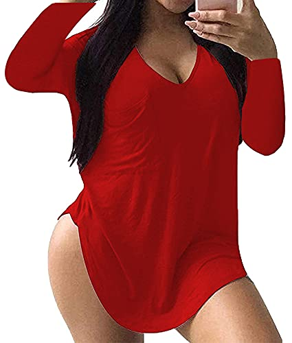 ALLEGRACE Women's Plus Size Tops Long Sleeve Casual Scoop Collar Pocket T Shirts Red 2X