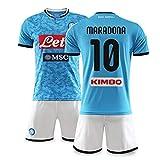 Camiseta De Fútbol Para Hombre, Camiseta De Manga Corta, Pantalones Cortos, Uniformes De Fútbol De Nápoles No. 10 Maradona, Uniformes De Equipos Deportivos Para Hombres Y Mujeres,Azul,XS/X~Small