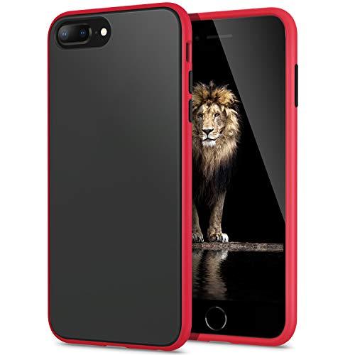 YATWIN Funda para iPhone 8 Plus, Funda iPhone 7 Plus Transparente Mate Case, [Shockproof Style] TPU Bumper Rubber y Botones Coloridos, Carcasa Protectora para Funda iPhone 7 8 Plus - Rojo