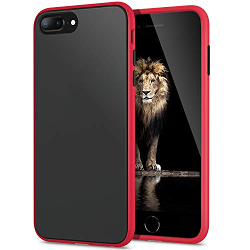 YATWIN Funda para iPhone 8 Plus, Funda iPhone 7 Plus Transparente Mate Case, [Shockproof Style] TPU Bumper Rubber y Botones Coloridos, Carcasa Protectora para Funda iPhone 7/8 Plus - Rojo