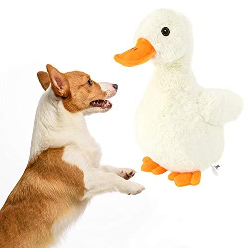 VavoPaw Hundespielzeug, Plüschtier Weiches Ungiftiges Quietschspielzeug Enteförmiges Quietschendes Kauspielzeug für kleine mittelgroße große Hunde - Gelb + Orange