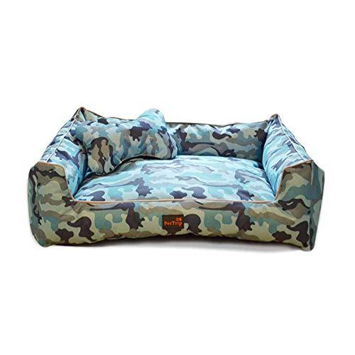 JKONG Hundebett Haustierbett Abnehmbar Und Waschbar Ganzjährig Großes Hundebett XL Blaues Camouflage-Oxford-Tuch Wo