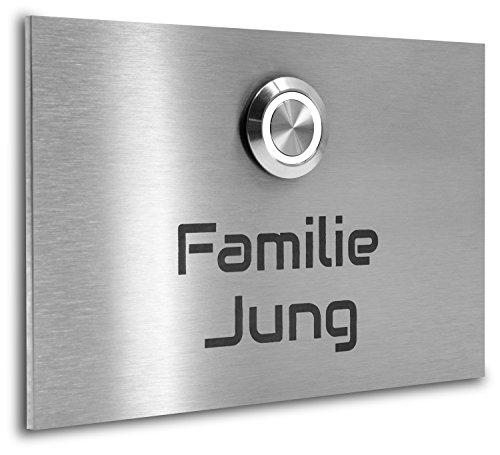 Jung Edelstahl Design Edelstahl Klingelplatte London 001 Türklingel mit Gravur. LED Klingeltaster in verschiedenen Farben, mit Schraubkontakten.