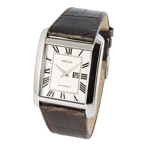 MARQUIS Herren Armbanduhr Funkuhr Braunes Lederarmband mit Edelstahlverschluss Edelstahlgehäuse 4016-231