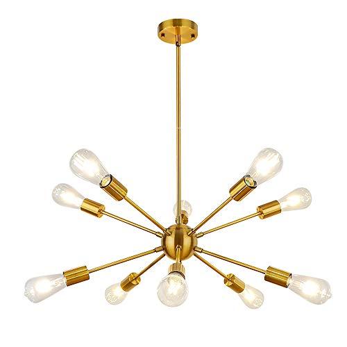 WBinDX Moderno dorado Sputnik Lámpara de araña 10 luces, Candelabros Luz de techo Fixture iluminación colgante industrial vintage para dormitorio, sala, comedor, cocina, isla, vestíbulo