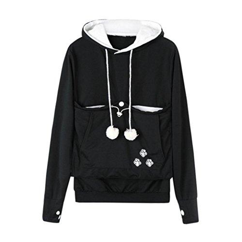 LONUPAZZ Sweat-Shirt Femme Kangourou Chien Chat Titulaire Transporteur Pochette Grande Poche Sweat à Capuche (Asian XL, Noir)