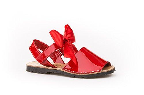 Sandalias Menorquinas Charol con Lazo para Niñas Todo Piel mod.206. Calzado infantil Made in Spain, Garantia de Calidad. (23, Rojo)