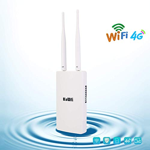 Outdoor 4G LTE WiFi Router with SIM Card Slot 150Mbps CAT4 WiFi Access Point High Power Dual Antenna Wireless Hotspot WiFi Devices Work with IP Camera