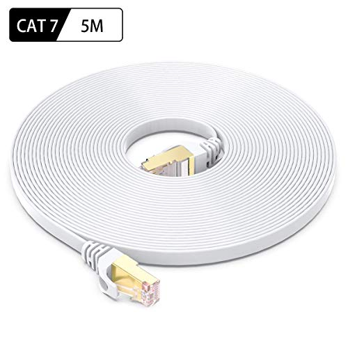 CAT 7 Ethernet Kabel 5m, BUSOHE Hochgeschwindigkeits- Gigabit RJ45 LAN Netzwerkkabel, 10Gbps 600Mhz Internet Patchkabel für Switch Router Modem Patch Panel PC (weiß)